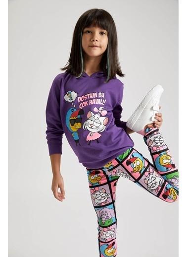 DeFacto Kız Çocuk Kral Şakir Lisanslı Tunik Boy Sweatshirt Mor